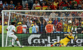Bruno Alves of Portugal misses a penalty during the UEFA EURO 2012 semi final match between Portugal and Spain at Donbass Arena on June 27 2012 in...