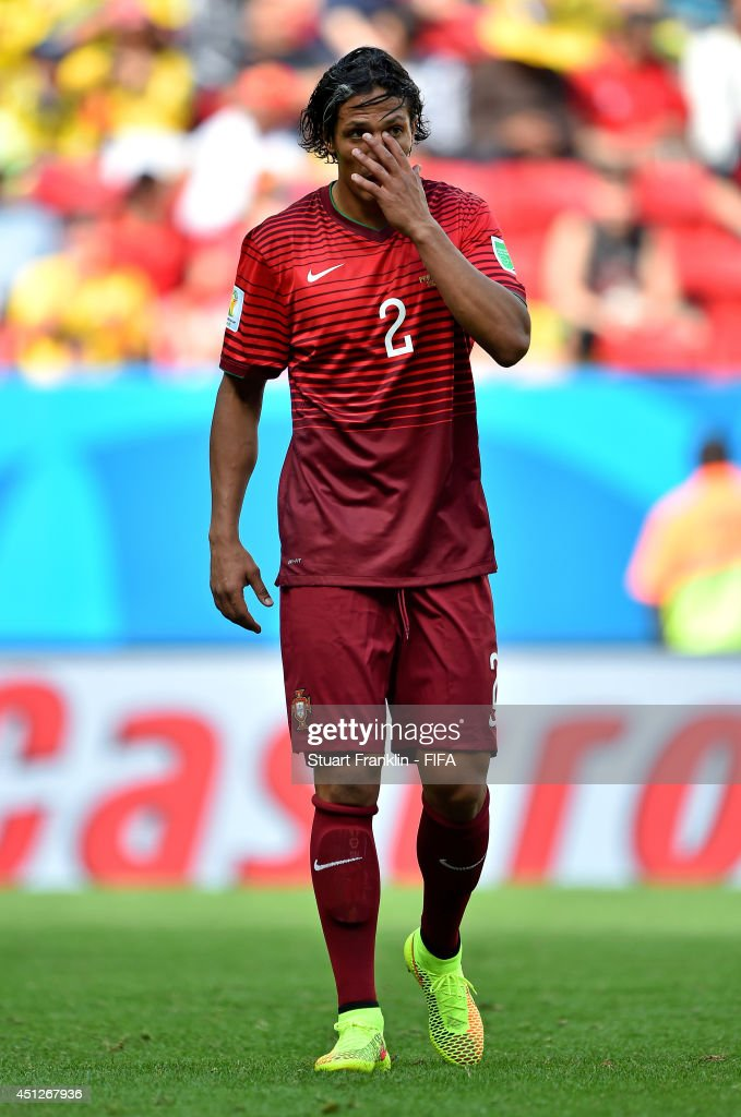 <a gi-track='captionPersonalityLinkClicked' href=/galleries/search?phrase=Bruno+Alves&family=editorial&specificpeople=2149132 ng-click='$event.stopPropagation()'>Bruno Alves</a> of Portugal reacts during the 2014 FIFA World Cup Brazil Group G match between Portugal and Ghana at Estadio Nacional on June 26, 2014 in Brasilia, Brazil.
