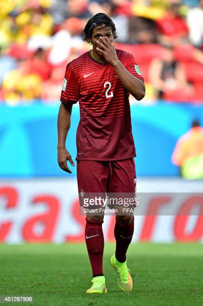 Bruno Alves of Portugal reacts during the 2014 FIFA World Cup Brazil Group G match between Portugal and Ghana at Estadio Nacional on June 26 2014 in...