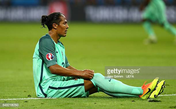 Bruno Alves of Portugal reacts during the UEFA EURO 2016 semi final match between Portugal and Wales at Stade des Lumieres on July 6 2016 in Lyon...
