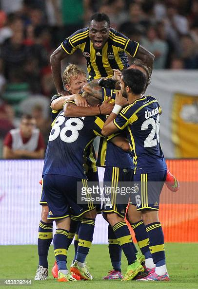 Bruno Alves with his teammates of Fenerbahce SK celebrates after scoring the first team's goal during the preseason friendly match between AS Roma...