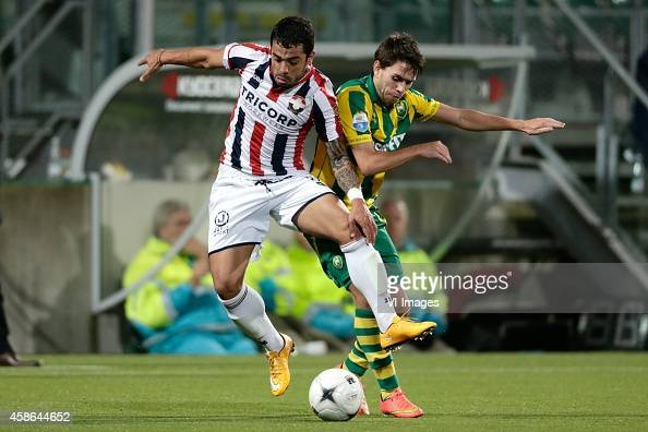 Bruno Andrade of Willem II Mathias Gehrt of ADO Den Haag during the Dutch Eredivisie match between ADO Den Haag and Willem II Tilburg at Kyocera...
