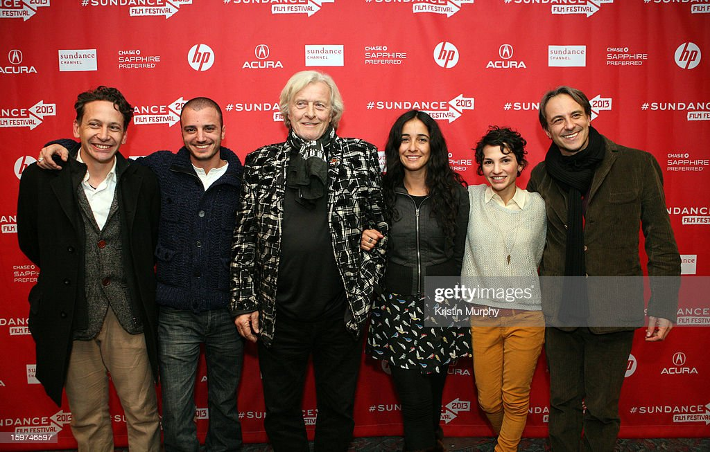 Bruno Bettati, Nicolas Vaporidis, <a gi-track='captionPersonalityLinkClicked' href=/galleries/search?phrase=Rutger+Hauer&family=editorial&specificpeople=228478 ng-click='$event.stopPropagation()'>Rutger Hauer</a>, Alicia Scherson, Manuela Martelli and Mario Mazzarotto attend 'The Future' premiere at Prospector Square during the 2013 Sundance Film Festival on January 19, 2013 in Park City, Utah. (Photo by Kristin Murphy/Getty Images}