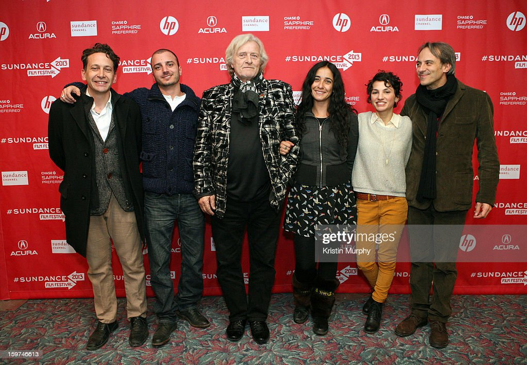 Bruno Bettati, Nicolas Vaporidis, Rutger Hauer, Alicia Scherson, Manuela Martelli and Mario Mazzarotto attend 'The Future' premiere at Prospector Square during the 2013 Sundance Film Festival on January 19, 2013 in Park City, Utah. (Photo by Kristin Murphy/Getty Images}