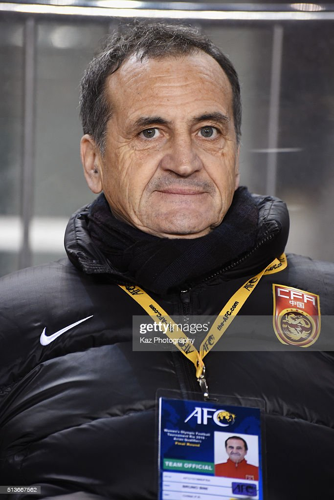 Bruno Bini head coach of China looks on prior to the AFC Women's Olympic Final Qualification Round match between Japan and China at Kincho Stadium on March 4, 2016 in Osaka, Japan.