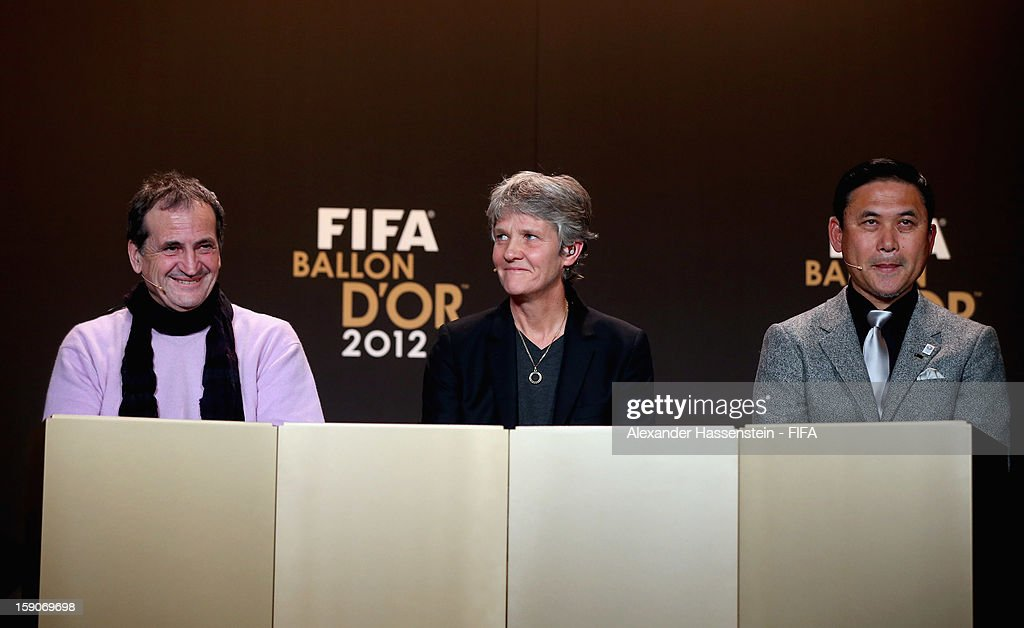 Bruno Bini of France, Pia Sundhage of Sweden and Norio Sasaki of Japan during the Press Conference for the Nominees for the Women's World Player of the Year and World Coach of the Year for Women's Football prior to the FIFA Ballon d'Or Gala 2012 at the Kongresshaus on January 7, 2013 in Zurich, Switzerland.