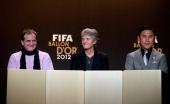 Bruno Bini of France Pia Sundhage of Sweden and Norio Sasaki of Japan during the Press Conference for the Nominees for the Women's World Player of...