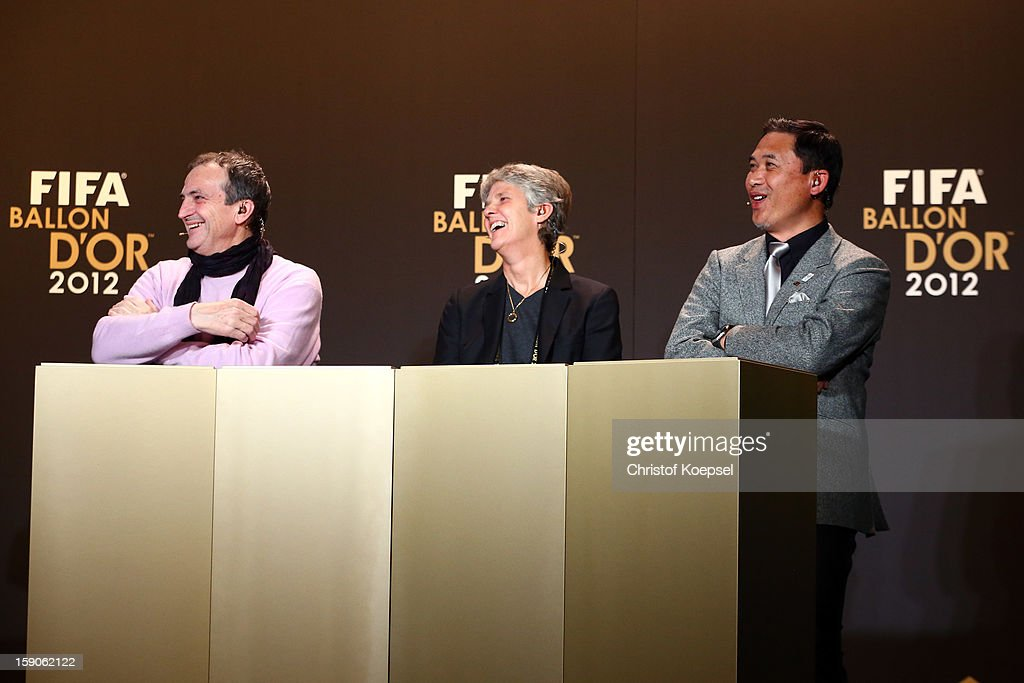 Bruno Bini, women's coach of France, Pia Sundhage, women's coach of United States and Norio Sasaki, women's coach of Japan attend the Press Conference with nominees for Women's World Player of the Year and World Coach of the Year for Women's Football on January 7, 2013 at Congress House in Zurich, Switzerland.
