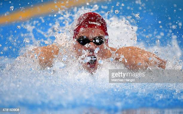 Bruno Blaskovic of Croatia competes in the Men's 50m Butterfly semi finals on day eleven of the Baku 2015 European Games at the Baku Aquatics Centre...