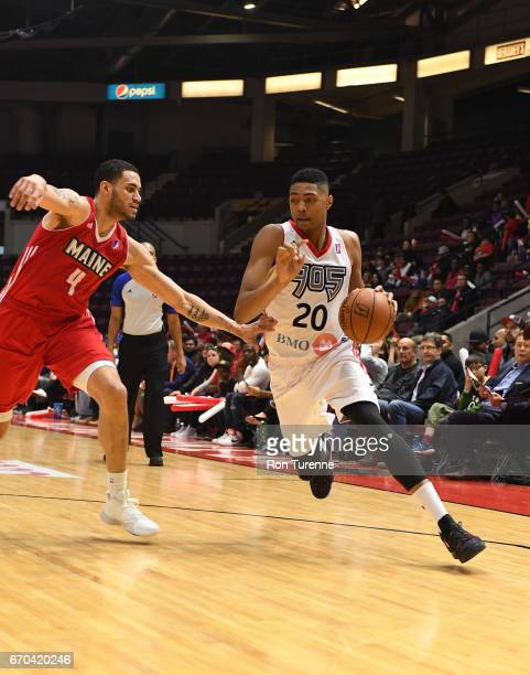 Bruno Caboclo of the Raptors 905 drives to the basket against Abdel Nader of the Maine Red Claws at the Hershey Centre on April 19 2017 in...