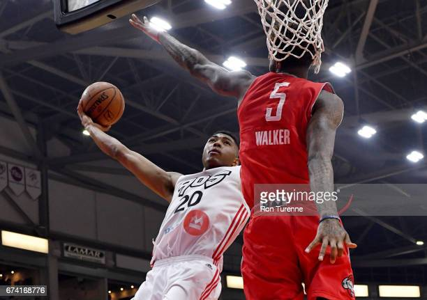 Bruno Caboclo of the Raptors 905 goes to the net on Chris Walker of the Rio Grande Valley Vipers during the first quarter of Game Three of the...