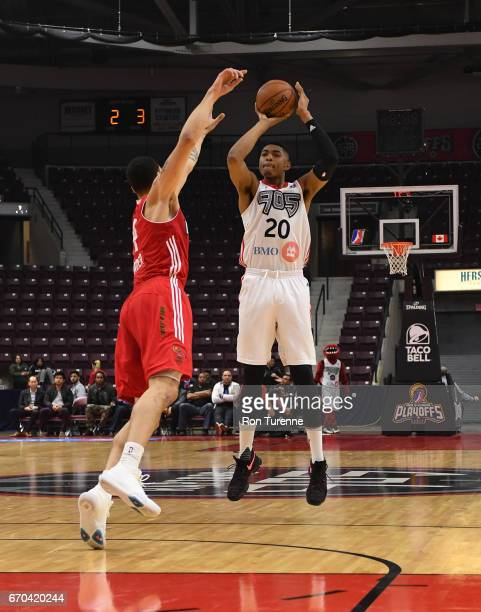 Bruno Caboclo of the Raptors 905 goes up for the shot over Abdel Nader of the Maine Red Claws at the Hershey Centre on April 19 2017 in Mississauga...