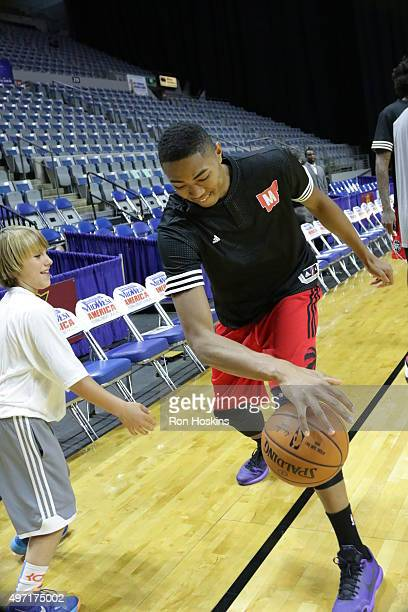 Bruno Caboclo of the Raptors 905 has some fun with a Mad Ants ball boy prior to the Raptors taking on the Fort Wayne Mad Ants at Memorial Coliseum...