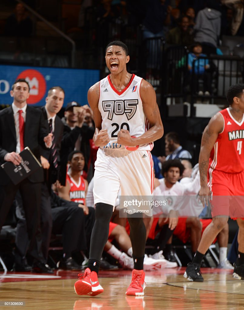 <a gi-track='captionPersonalityLinkClicked' href=/galleries/search?phrase=Bruno+Caboclo&family=editorial&specificpeople=12933791 ng-click='$event.stopPropagation()'>Bruno Caboclo</a> #20 of the Raptors 905 yells while he celebrates with players against the Maine Red Claws at the Air Canada Centre on December 11, 2015 in Toronto, Ontario, Canada.