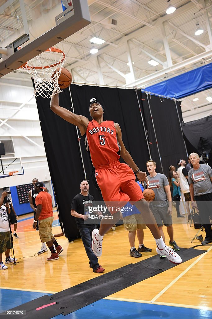 <a gi-track='captionPersonalityLinkClicked' href=/galleries/search?phrase=Bruno+Caboclo&family=editorial&specificpeople=12933791 ng-click='$event.stopPropagation()'>Bruno Caboclo</a> #5 of the Toronto Raptors behind the scenes during the 2014 NBA rookie photo shoot on August 3, 2014 at the Madison Square Garden Training Facility in Tarrytown, New York.