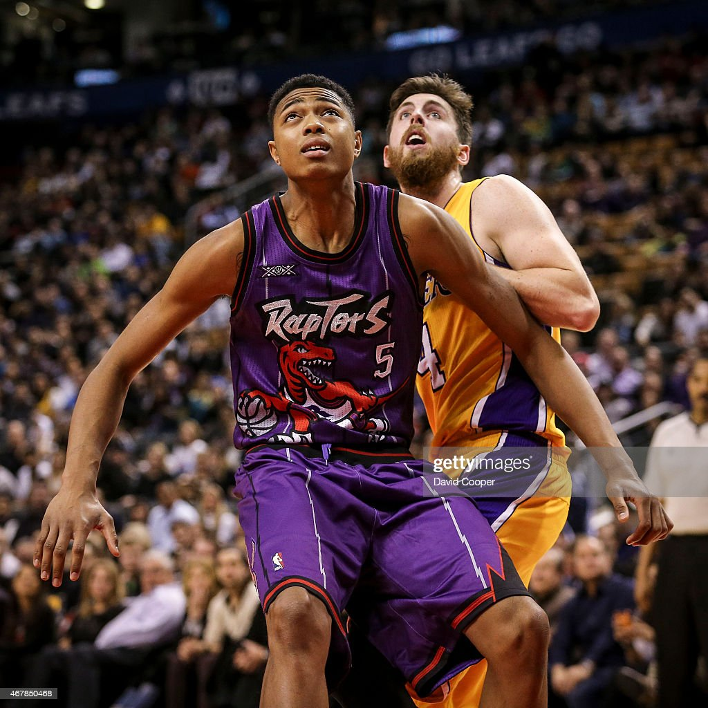 TORONTO, ON- MARCH 27 - <a gi-track='captionPersonalityLinkClicked' href=/galleries/search?phrase=Bruno+Caboclo&family=editorial&specificpeople=12933791 ng-click='$event.stopPropagation()'>Bruno Caboclo</a> (5) of the Toronto Raptors boxes out <a gi-track='captionPersonalityLinkClicked' href=/galleries/search?phrase=Ryan+Kelly+-+Basketball+Player&family=editorial&specificpeople=15185169 ng-click='$event.stopPropagation()'>Ryan Kelly</a> (4) of the Los Angeles Lakers late in the game during the game between the Toronto Raptors beat the Los Angeles Lakers 94-83 at the Air Canada Centre March 27, 2015