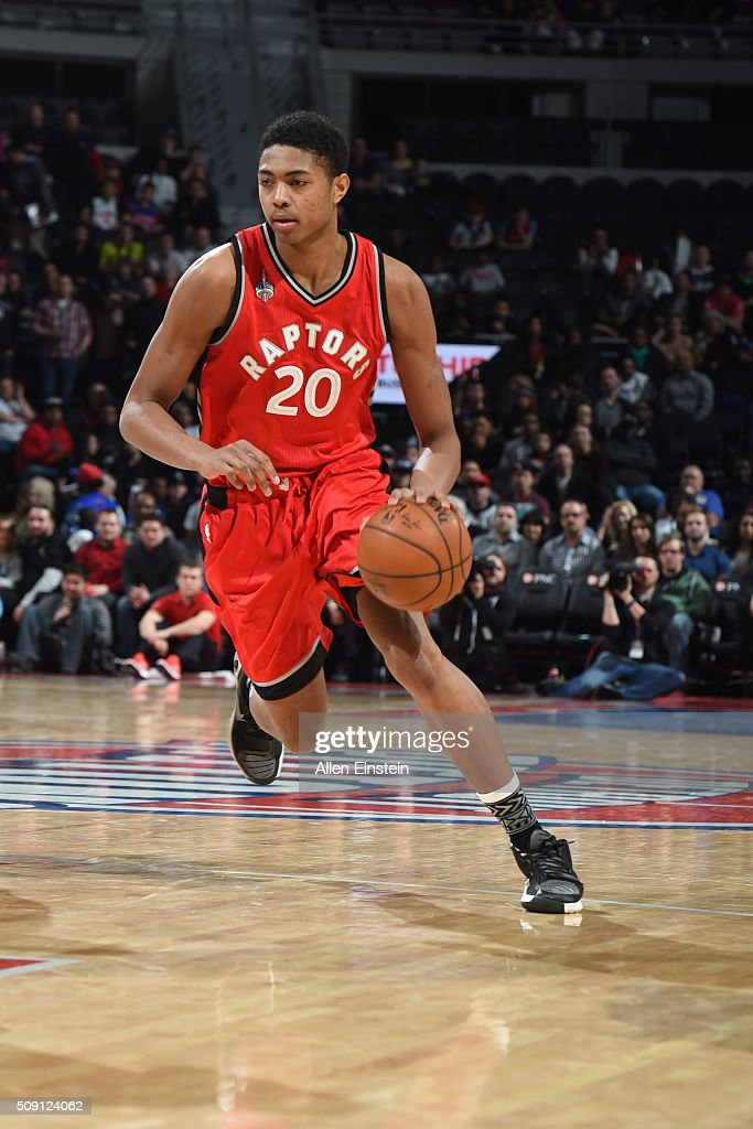 <a gi-track='captionPersonalityLinkClicked' href=/galleries/search?phrase=Bruno+Caboclo&family=editorial&specificpeople=12933791 ng-click='$event.stopPropagation()'>Bruno Caboclo</a> #20 of the Toronto Raptors dribbles the ball against the Detroit Pistons on February 8, 2016 at The Palace of Auburn Hills in Auburn Hills, Michigan.
