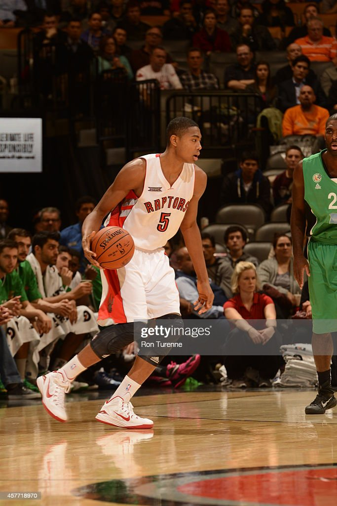 <a gi-track='captionPersonalityLinkClicked' href=/galleries/search?phrase=Bruno+Caboclo&family=editorial&specificpeople=12933791 ng-click='$event.stopPropagation()'>Bruno Caboclo</a> #5 of the Toronto Raptors handles the ball against Maccabi Haifa during the game on October 22, 2014 at the Air Canada Centre in Toronto, Ontario, Canada.