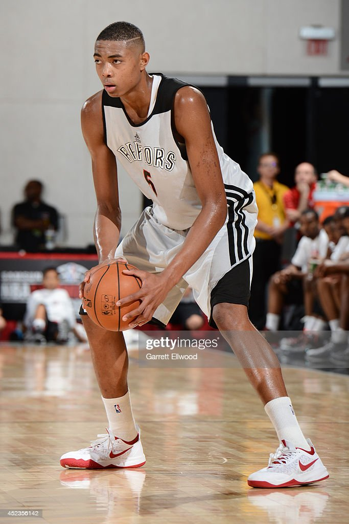 <a gi-track='captionPersonalityLinkClicked' href=/galleries/search?phrase=Bruno+Caboclo&family=editorial&specificpeople=12933791 ng-click='$event.stopPropagation()'>Bruno Caboclo</a> #5 of the Toronto Raptors handles the ball against the Los Angeles Clippers on July 18, 2014 at the Cox Pavilion in Las Vegas, Nevada.