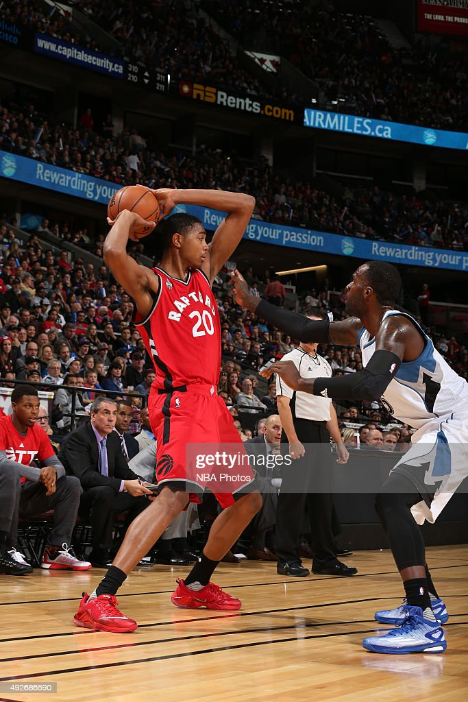 <a gi-track='captionPersonalityLinkClicked' href=/galleries/search?phrase=Bruno+Caboclo&family=editorial&specificpeople=12933791 ng-click='$event.stopPropagation()'>Bruno Caboclo</a> #20 of the Toronto Raptors handles the ball against the Minnesota Timberwolves at Canadian Tire Centre on October 14, 2015 in Ottawa, Ontario, Canada.