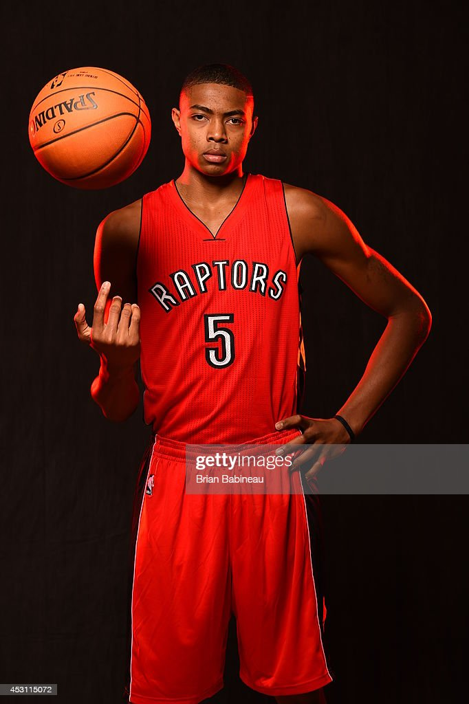 <a gi-track='captionPersonalityLinkClicked' href=/galleries/search?phrase=Bruno+Caboclo&family=editorial&specificpeople=12933791 ng-click='$event.stopPropagation()'>Bruno Caboclo</a> #5 of the Toronto Raptors poses for a portrait during the 2014 NBA rookie photo shoot on August 3, 2014 at the Madison Square Garden Training Facility in Tarrytown, New York.