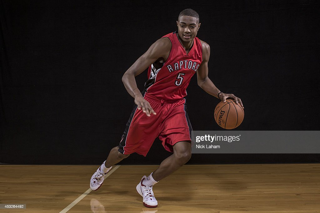 <a gi-track='captionPersonalityLinkClicked' href=/galleries/search?phrase=Bruno+Caboclo&family=editorial&specificpeople=12933791 ng-click='$event.stopPropagation()'>Bruno Caboclo</a> #5 of the Toronto Raptors poses for a portrait during the 2014 NBA rookie photo shoot at MSG Training Center on August 3, 2014 in Tarrytown, New York.