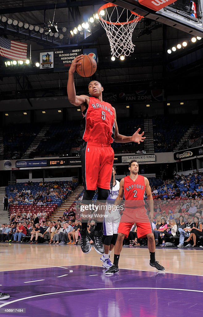 <a gi-track='captionPersonalityLinkClicked' href=/galleries/search?phrase=Bruno+Caboclo&family=editorial&specificpeople=12933791 ng-click='$event.stopPropagation()'>Bruno Caboclo</a> #5 of the Toronto Raptors rebounds against the Sacramento Kings on October 7, 2014 at Sleep Train Arena in Sacramento, California.