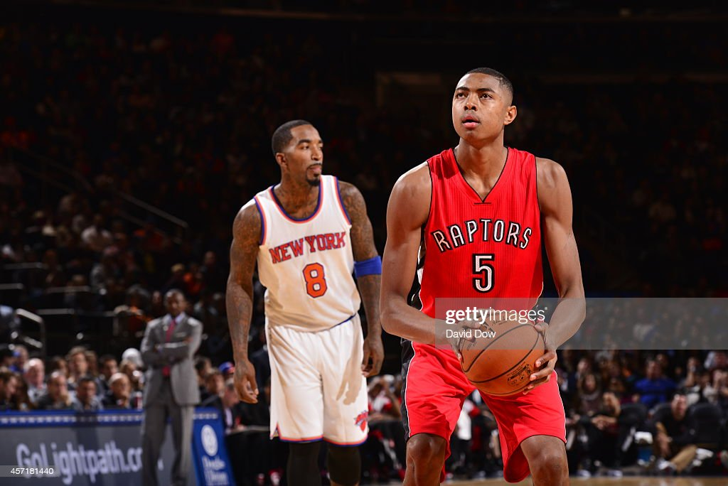 <a gi-track='captionPersonalityLinkClicked' href=/galleries/search?phrase=Bruno+Caboclo&family=editorial&specificpeople=12933791 ng-click='$event.stopPropagation()'>Bruno Caboclo</a> #5 of the Toronto Raptors shoots a free throw against the New York Knicks during a game at Madison Square Garden on October 13, 2014 in New York City, New York.