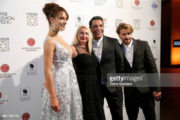 Bruno Caruso Privee and Guests pose at Arab Fashion Week Ready Couture Resort 2018 Gala Dinner on May 202017 at Armani Hotel in Dubai United Arab...