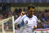 Bruno Cazarine of Sydney FC celebrates scoring a goal during the AFC Champions League Group H match between Shanghai Shenhua and Sydney FC at Hong...