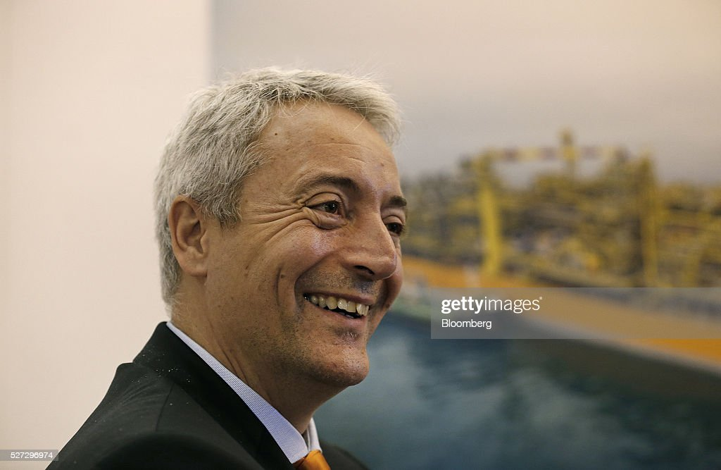 Bruno Chabas, chief executive officer of SBM Offshore NV, smiles during an interview at the 2016 Offshore Technology Conference (OTC) in Houston, Texas, U.S., on Monday, May 2, 2016. The OTC gathers energy professionals to exchange ideas and opinions to advance scientific and technical knowledge for offshore resources. Photographer: Aaron M. Sprecher/Bloomberg via Getty Images