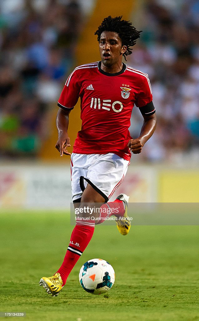 Bruno Cortez of Benfica runs with the ball during a friendly match between Elche CF and Benfica at Estadio Martinez Valero on July 31, 2013 in Elche, Spain.