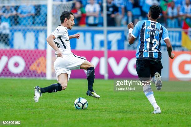 Bruno Cortez of Gremio battles for the ball against Rodriguinho of Corinthians during the match Gremio v Corinthians as part of Brasileirao Series A...