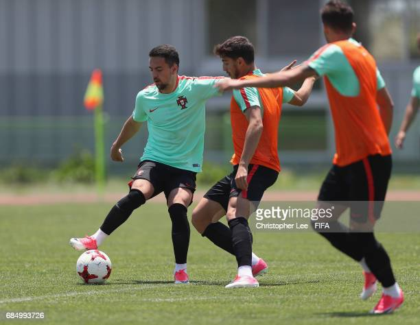 Bruno Costa of Portugal with Xadas in action during their training Session at Kang Chang Hak Stadium on May 19 2017 in Jeju South Korea