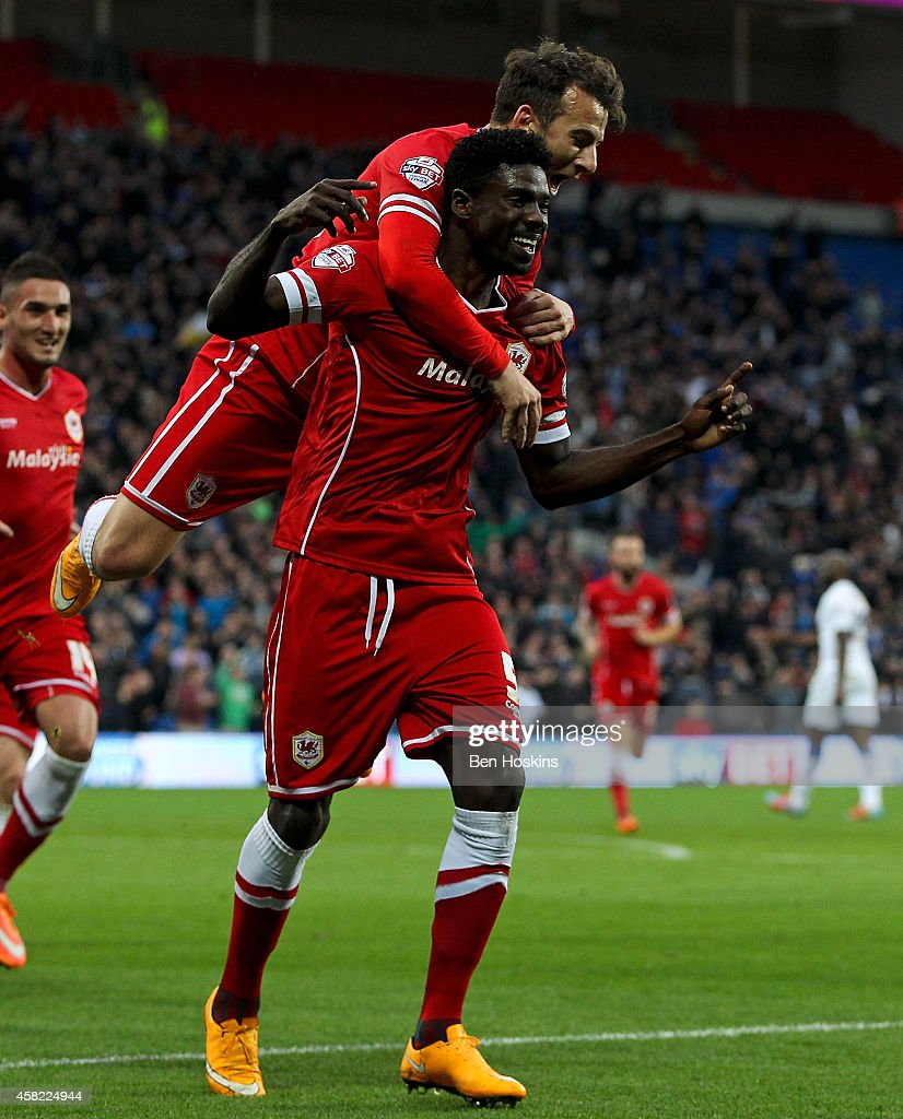 Bruno Ecuele Manga of Cardiff celebrates scoring his team's first goal of the game during the Sky Bet Championship match between Cardiff City and...