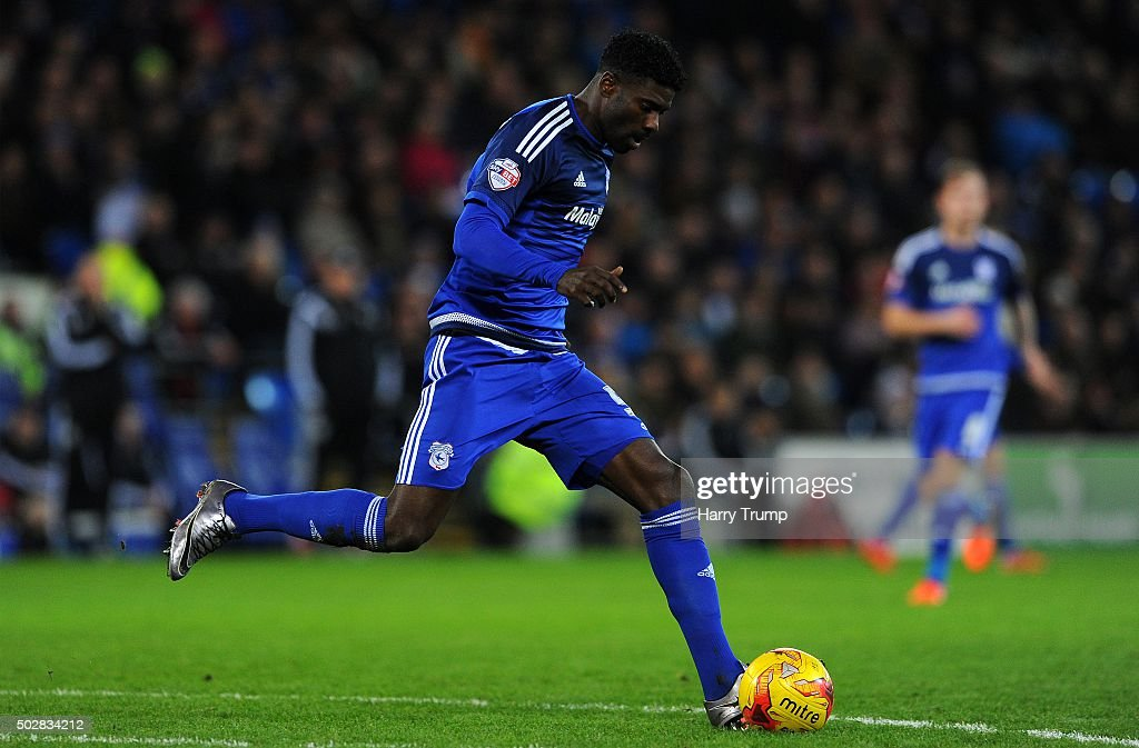 Bruno Ecuele Manga of Cardiff City during the Sky Bet Championship match between Cardiff City and Nottingham Forest at the Cardiff City Stadium on December 29, 2015 in Cardiff, Wales.