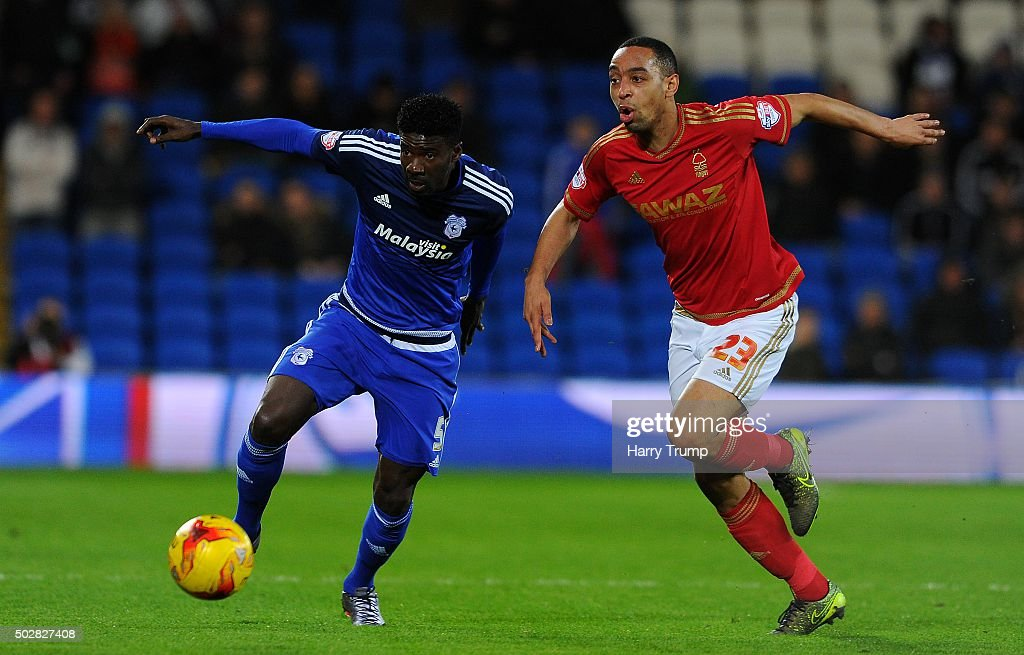 <a gi-track='captionPersonalityLinkClicked' href=/galleries/search?phrase=Bruno+Ecuele+Manga&family=editorial&specificpeople=7115761 ng-click='$event.stopPropagation()'>Bruno Ecuele Manga</a> of Cardiff City is tackled by <a gi-track='captionPersonalityLinkClicked' href=/galleries/search?phrase=Dexter+Blackstock&family=editorial&specificpeople=2103833 ng-click='$event.stopPropagation()'>Dexter Blackstock</a> of Nottingham Forest during the Sky Bet Championship match between Cardiff City and Nottingham Forest at the Cardiff City Stadium on December 29, 2015 in Cardiff, Wales.