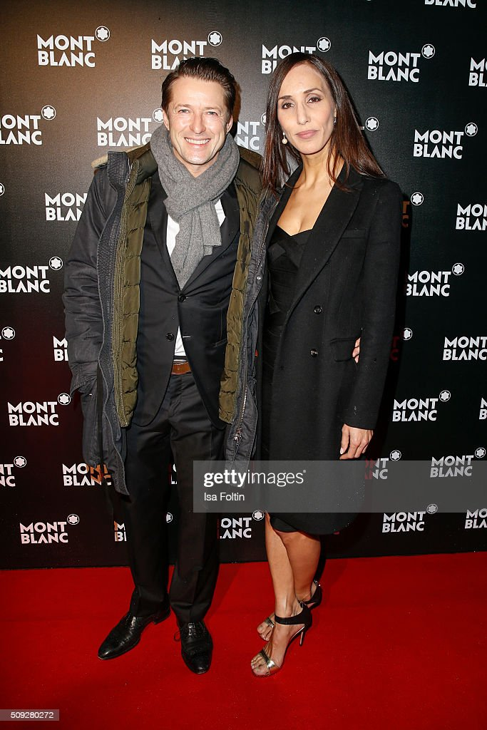 Bruno Eyron and Friederike Dirscherl attend the Montblanc House Opening on February 09, 2016 in Hamburg, Germany.