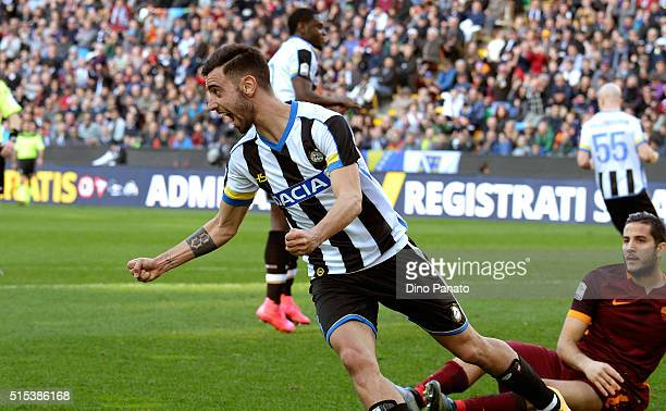 Bruno Fernandes Borges of Udinese Calcio celebrates after scoring hi team's first goal during the Serie A match between Udinese Calcio and AS Roma at...