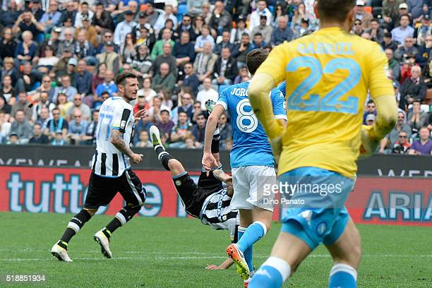 Bruno Fernandes Borges of Udinese Calcio scores his team's second goal during the Serie A match between Udinese Calcio and SSC Napoli at Stadio...