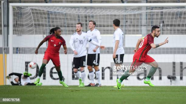 Bruno Fernandes of Portugal celebrates after scoring a goal to make it 01 during the U21 International Friendly match between Germany U21 and...