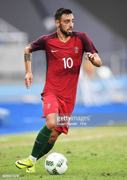 Bruno Fernandes of Portugal in action during the Olympic Men's Football match between Honduras and Portugal at Olympic Stadium on August 7 2016 in...