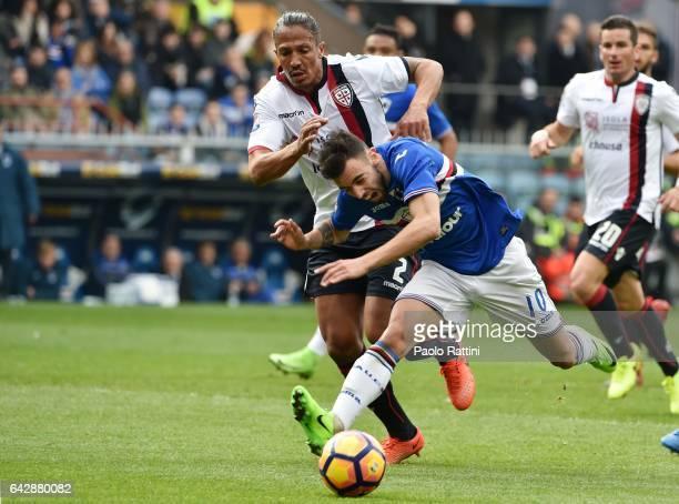 Bruno Fernandes of Sampdoria and Bruno Alves of Cagliari during the Serie A match between UC Sampdoria and Cagliari Calcio at Stadio Luigi Ferraris...