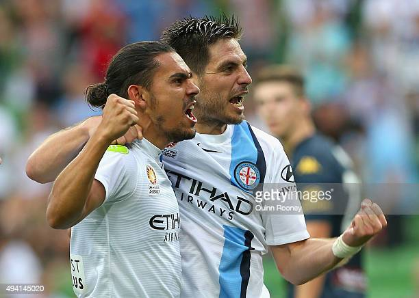 Bruno Fornaroli of City and David Williams celebrate scoring a goal during the round three ALeague match between Melbourne City FC and the Central...