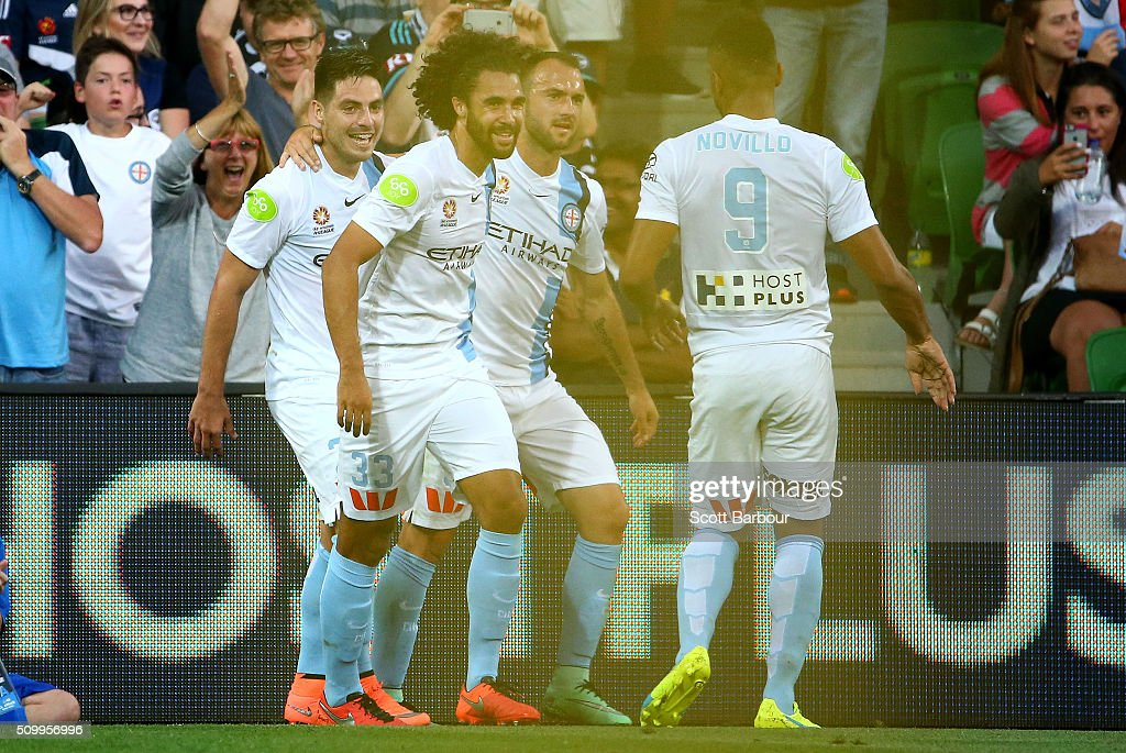 <a gi-track='captionPersonalityLinkClicked' href=/galleries/search?phrase=Bruno+Fornaroli&family=editorial&specificpeople=4952582 ng-click='$event.stopPropagation()'>Bruno Fornaroli</a> of City FC celebrates after scoring his second goal during the round 19 A-League match between Melbourne City FC and Melbourne Victory at AAMI Park on February 13, 2016 in Melbourne, Australia.