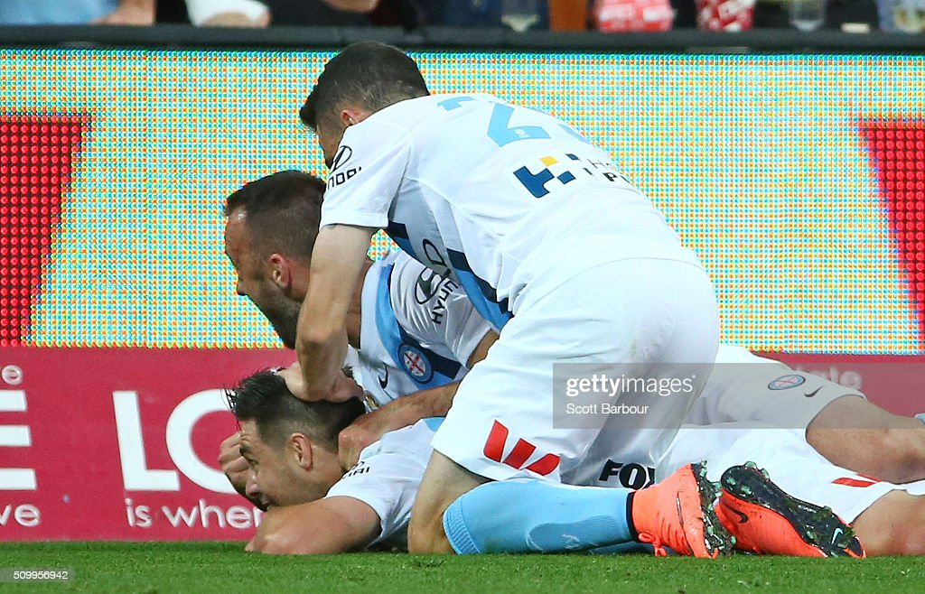 <a gi-track='captionPersonalityLinkClicked' href=/galleries/search?phrase=Bruno+Fornaroli&family=editorial&specificpeople=4952582 ng-click='$event.stopPropagation()'>Bruno Fornaroli</a> of City FC celebrates after scoring the first goal during the round 19 A-League match between Melbourne City FC and Melbourne Victory at AAMI Park on February 13, 2016 in Melbourne, Australia.