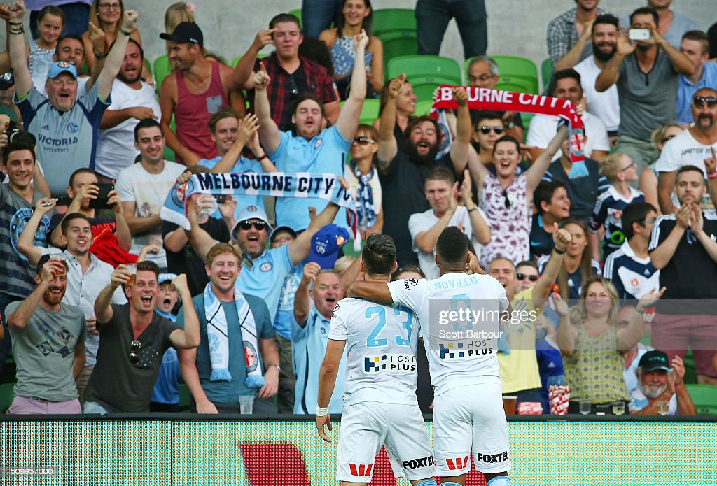 <a gi-track='captionPersonalityLinkClicked' href=/galleries/search?phrase=Bruno+Fornaroli&family=editorial&specificpeople=4952582 ng-click='$event.stopPropagation()'>Bruno Fornaroli</a> of City FC celebrates with supporters in the crowd after scoring the first goal during the round 19 A-League match between Melbourne City FC and Melbourne Victory at AAMI Park on February 13, 2016 in Melbourne, Australia.
