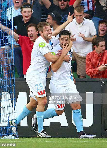 Bruno Fornaroli of City FC is congratulated by Jacob Melling after scoring the second goal during the round 14 ALeague match between Melbourne City...