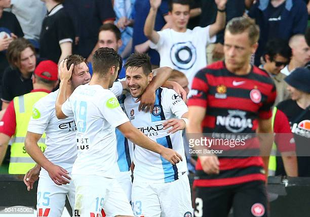 Bruno Fornaroli of City FC is congratulated by Jacob Melling and Ben Garuccio after scoring the second goal during the round 14 ALeague match between...