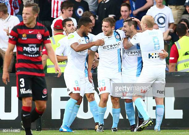 Bruno Fornaroli of City FC is congratulated by Jacob Melling Harry Novillo and Aaron Mooy after scoring the second goal during the round 14 ALeague...
